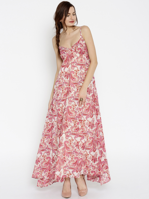 7ae572071b2f Buy SASSAFRAS Women Pink   Beige Printed Maxi Dress Online ...