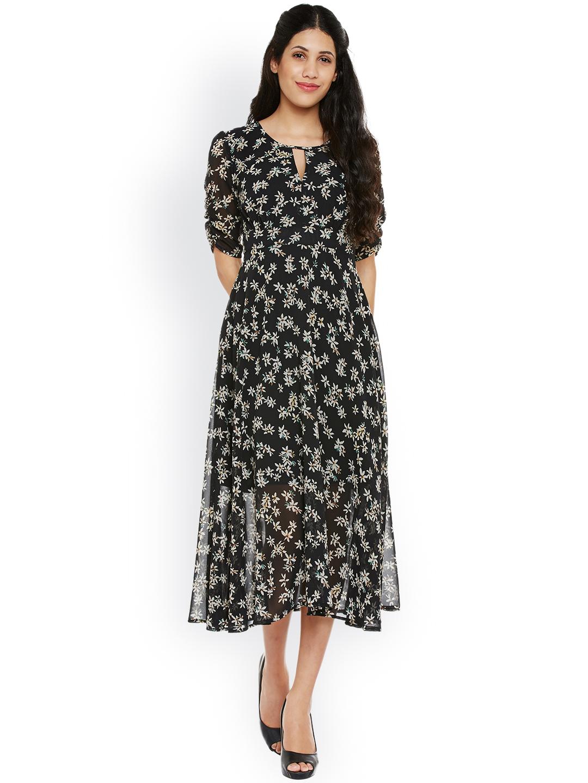Buy Nun Women Black Floral Print Fit   Flare Midi Dress Online ... 40a549ff36