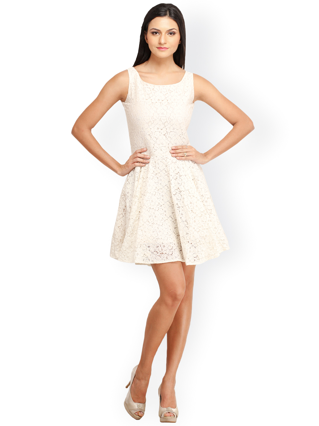 9ed6f4f5280d Buy Cation Off-White Fit   Flare Lace Dress Online