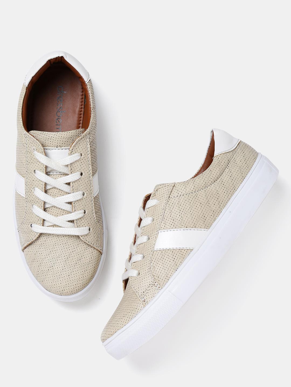 b5ccb989f871 Buy DressBerry Women Beige Textured Sneakers Online