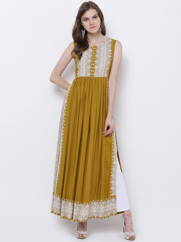 1d570cba68c Buy Vishudh Women Mustard Yellow Printed A-Line Kurta Online ...