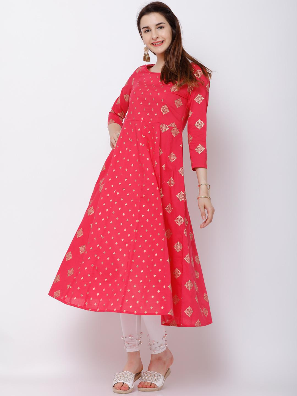 a1bb9d7b0 Buy Vishudh Women Pink   White Printed Anarkali Kurta Online ...