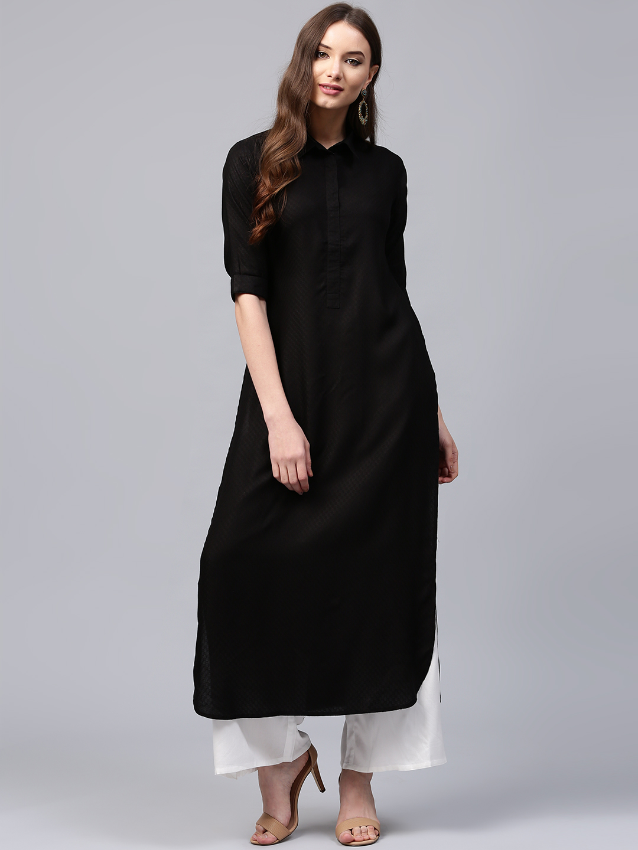 62a191368ee Buy Libas Women Black Self-Design Pathani Kurta Online