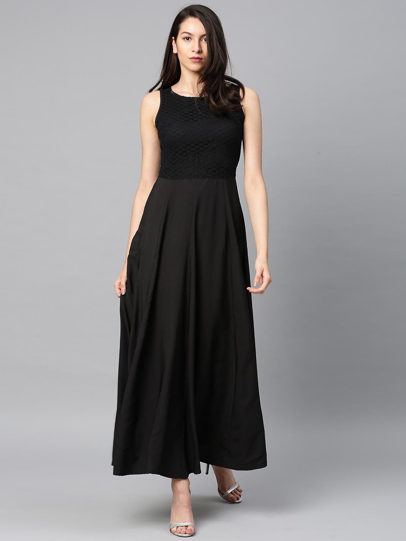 0be55c097 Buy Tokyo Talkies Women Black Solid Maxi Dress Online