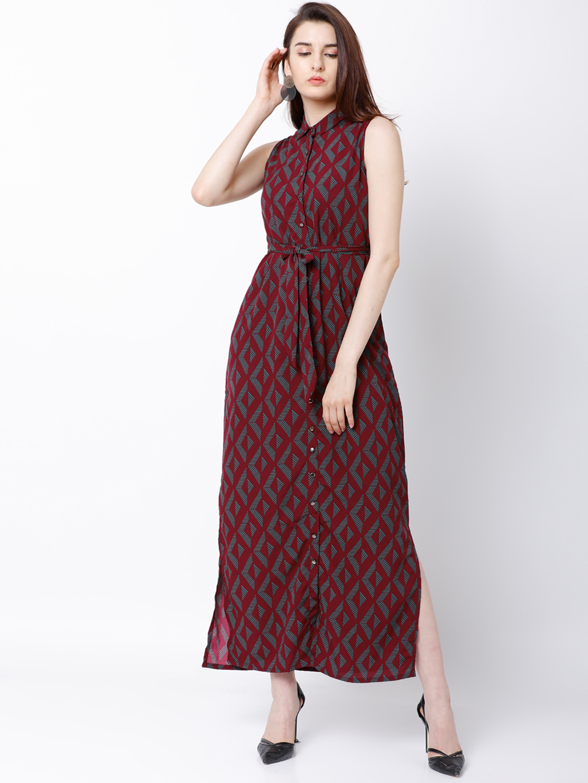 adef3064f4a4 Buy Tokyo Talkies Women Maroon Printed Maxi Dress Online ...