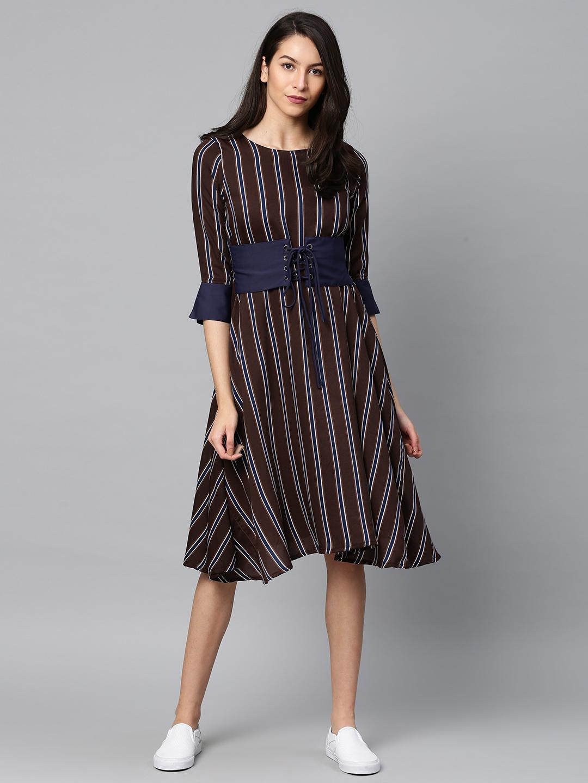 4f020fb98cd Buy Tokyo Talkies Women Purple   Blue Striped Fit and Flare Dress ...