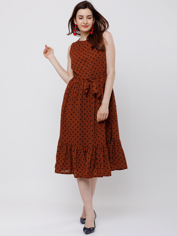 78074845229b Buy Tokyo Talkies Women Brown Printed Fit and Flare Dress Online ...