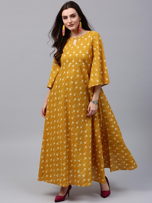 4c2207fb7763 Buy AKS Women Mustard Yellow Printed Maxi Dress Online ...