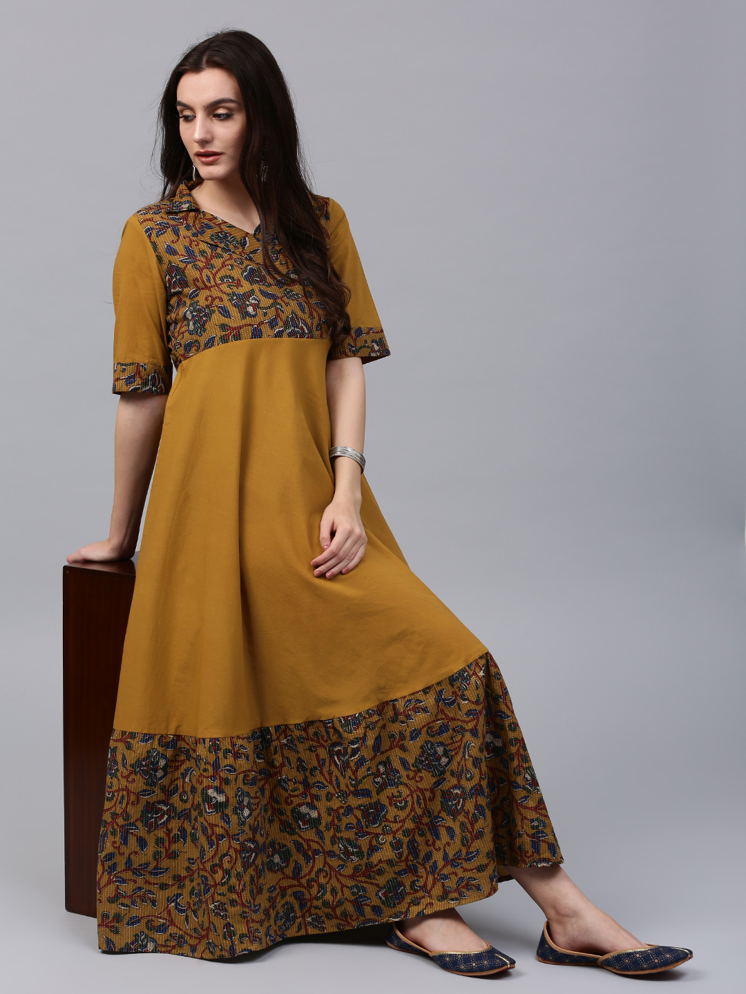 1443ffc278b Buy AKS Women Mustard Brown Printed Maxi Dress Online ...