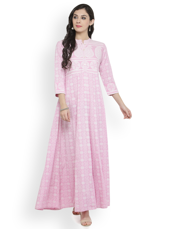 0dfa3130cccc Buy Varanga Women Pink Printed Maxi Dress Online