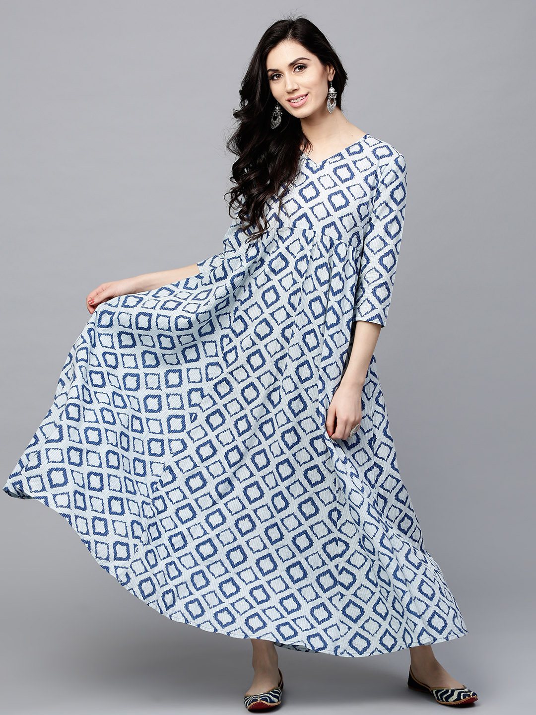 4f2f538e38ac Buy AKS Women Off-White   Blue Printed Maxi Dress Online ...