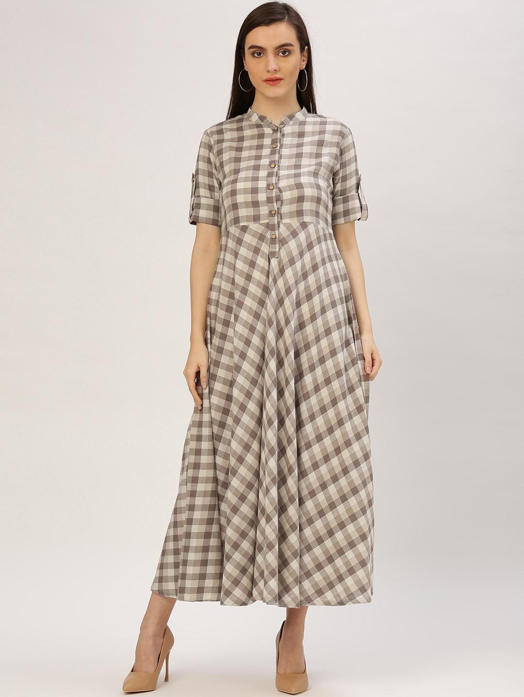 17989b2595df Buy Jaipur Kurti Women Brown Checked Maxi Dress Online ...