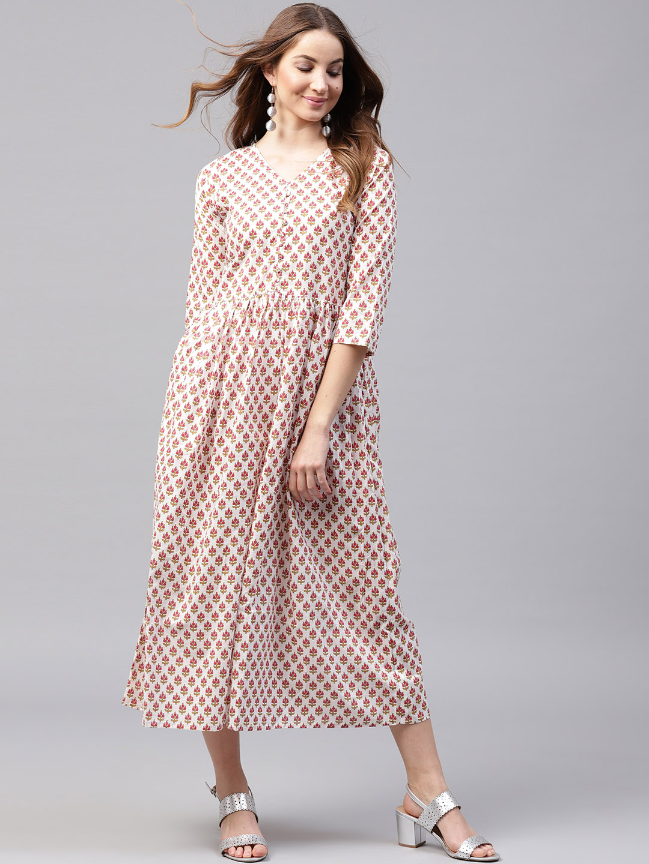 Buy Nayo Women Off-White   Pink Printed Maxi Dress Online ... 7467e59eb015