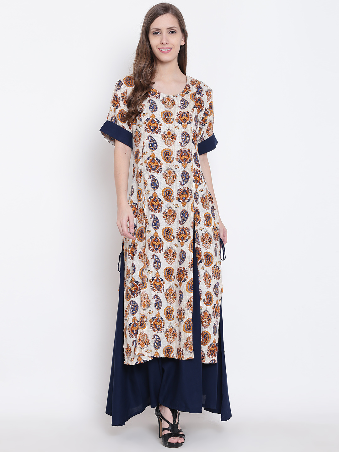 81af424e298 Shree Women Mustard Yellow   Navy Layered Printed Maxi Dress
