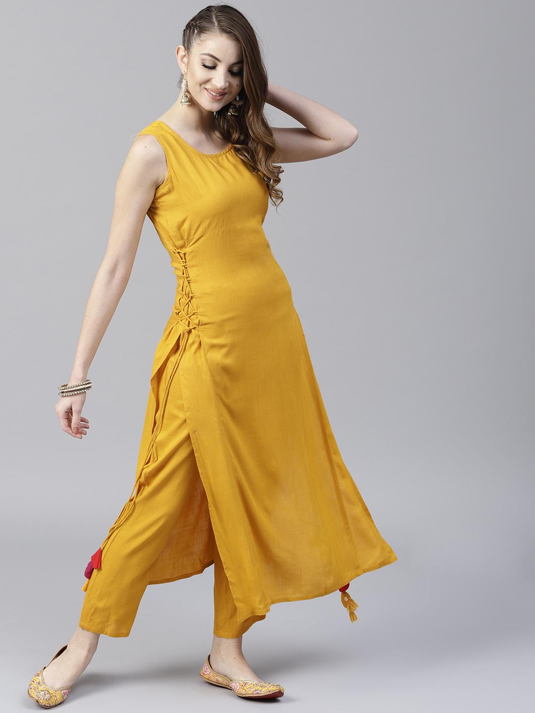 a78cbb979 Buy AKS Women Mustard Solid Straight Kurta Online