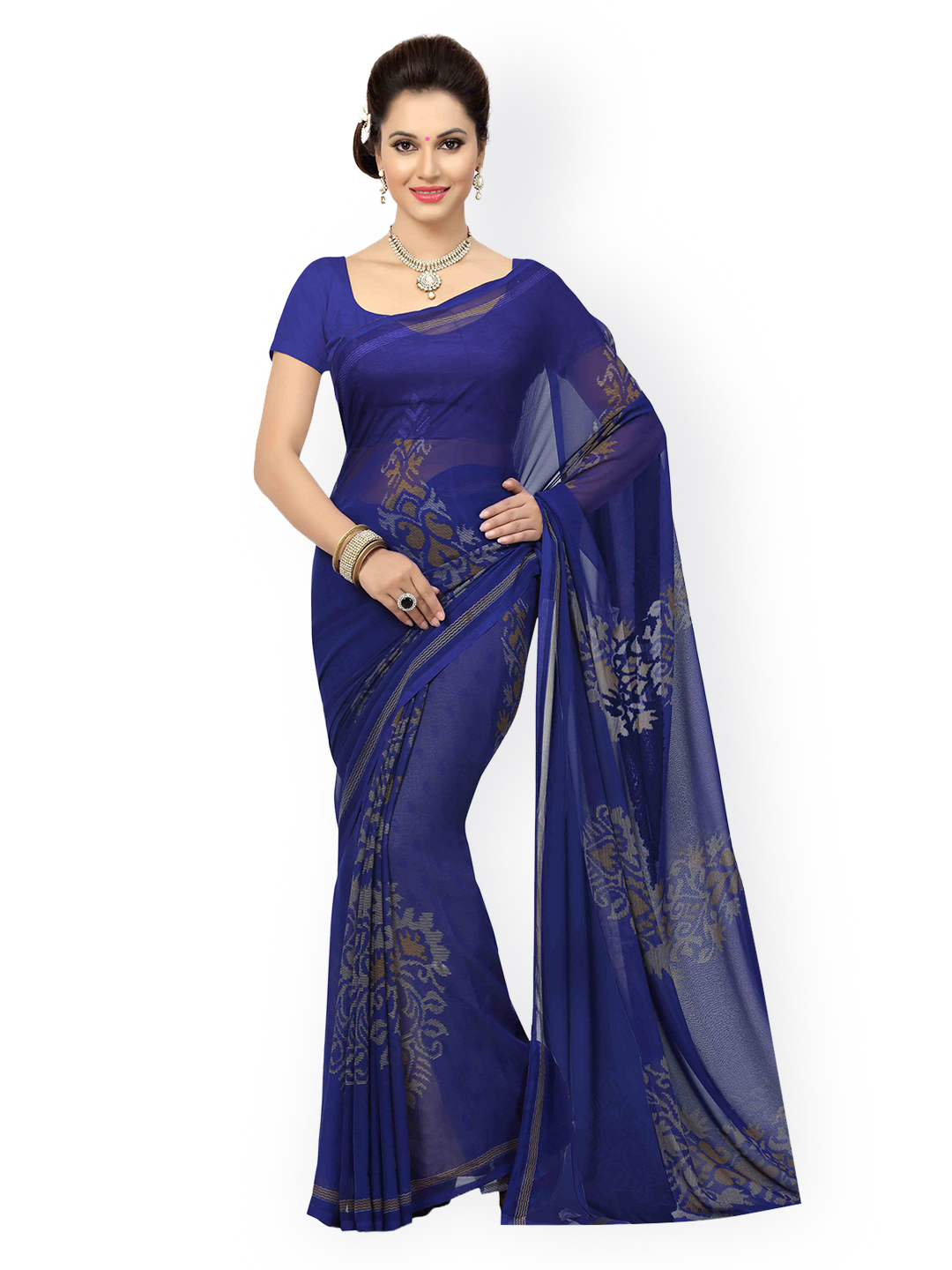 6dce31f8b1e8a Buy Ishin Navy Poly Georgette Printed Saree Online