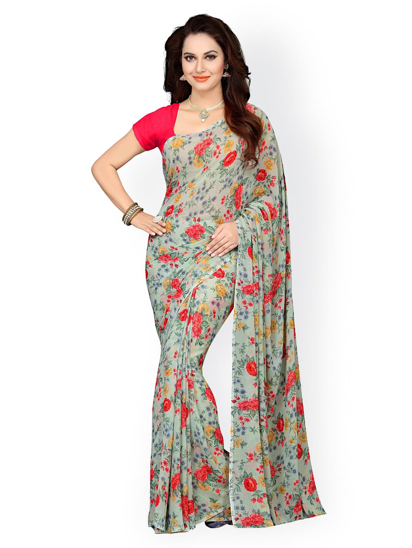 da30523f886 Buy Ishin Green Poly Georgette Floral Print Saree Online