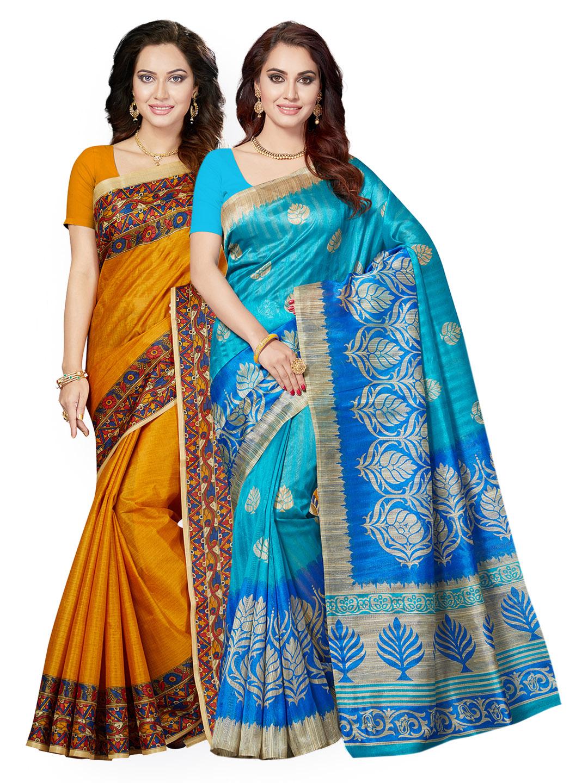 ce5665c081 Buy Ishin Selection of 2 Mustard Yellow & Blue Art Silk Printed Sarees ...