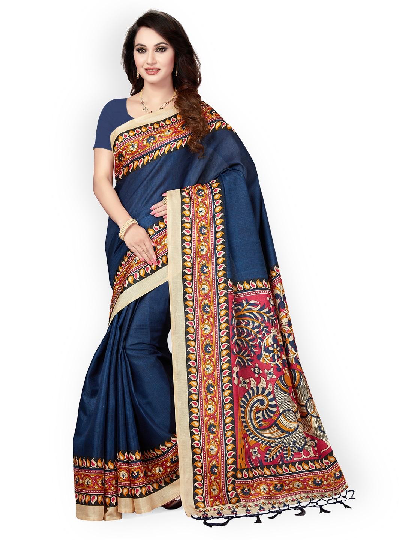 8d8dc7a0c Buy Ishin Navy Blue Art Silk Printed Mysore Silk Saree Online ...