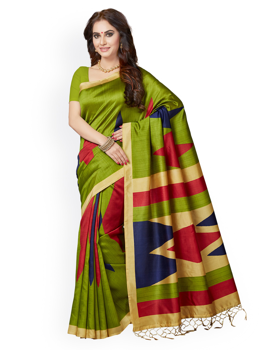 f5991ebf991 Buy Ishin Green Art Silk Printed Bhagalpuri Saree Online