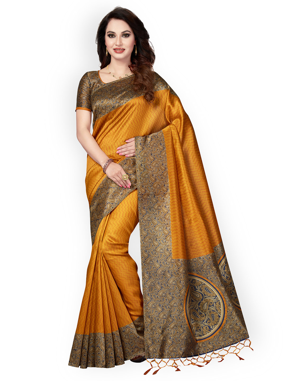 d61ee3824 Buy Ishin Mustard Art Silk Printed Mysore Silk Saree Online ...