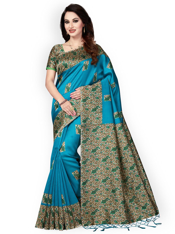 0ea8156100b Buy Ishin Teal Art Silk Printed Mysore Silk Saree Online