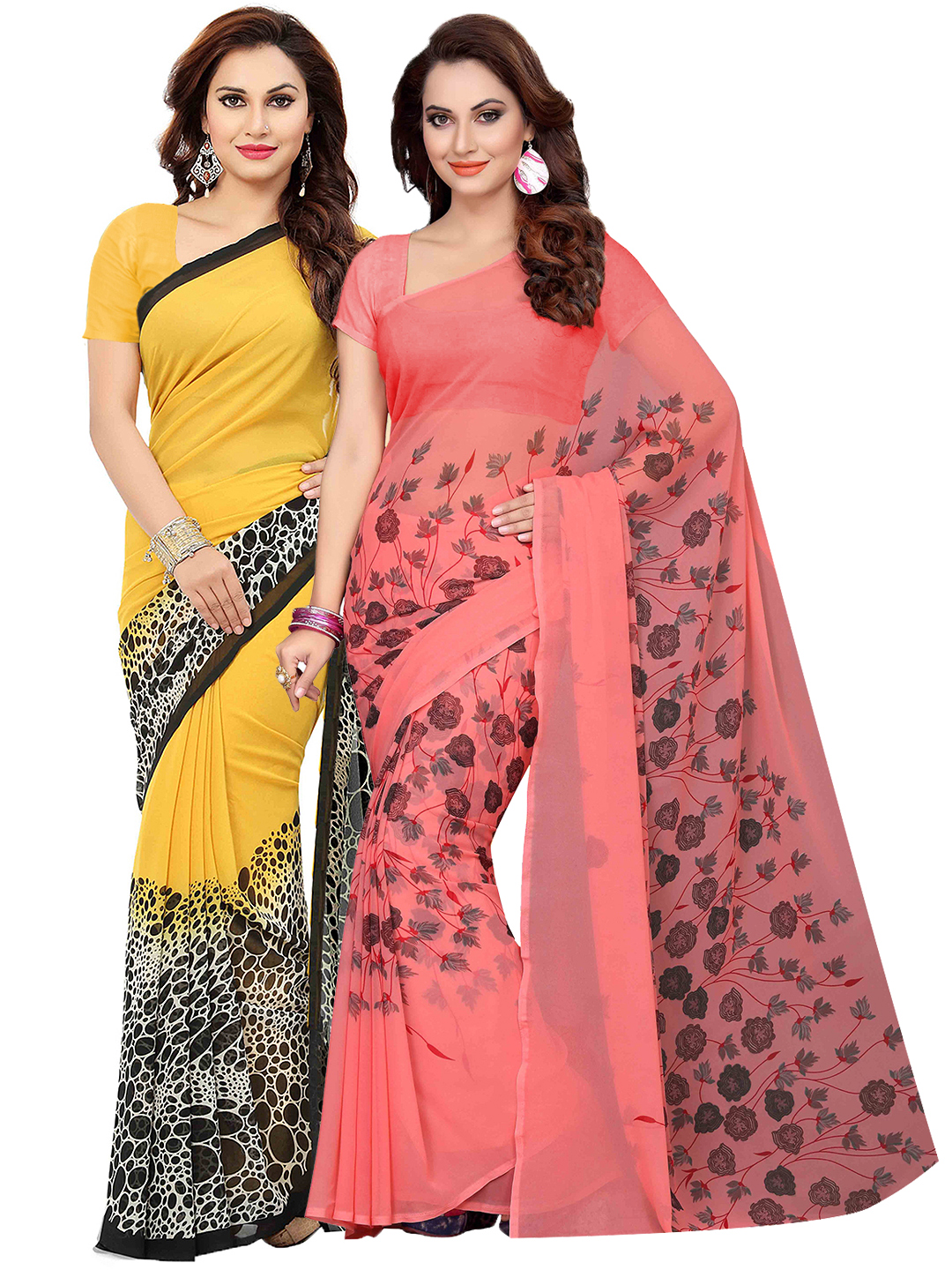 8cc7d13caf Ishin Selection of 2 Yellow & Peach-Coloured Poly Georgette Printed Sarees