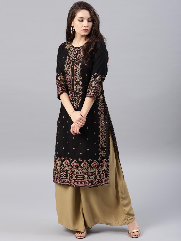 3d1af0009e2 Buy Vishudh Women Black   Gold-Toned Printed Straight Kurta ...