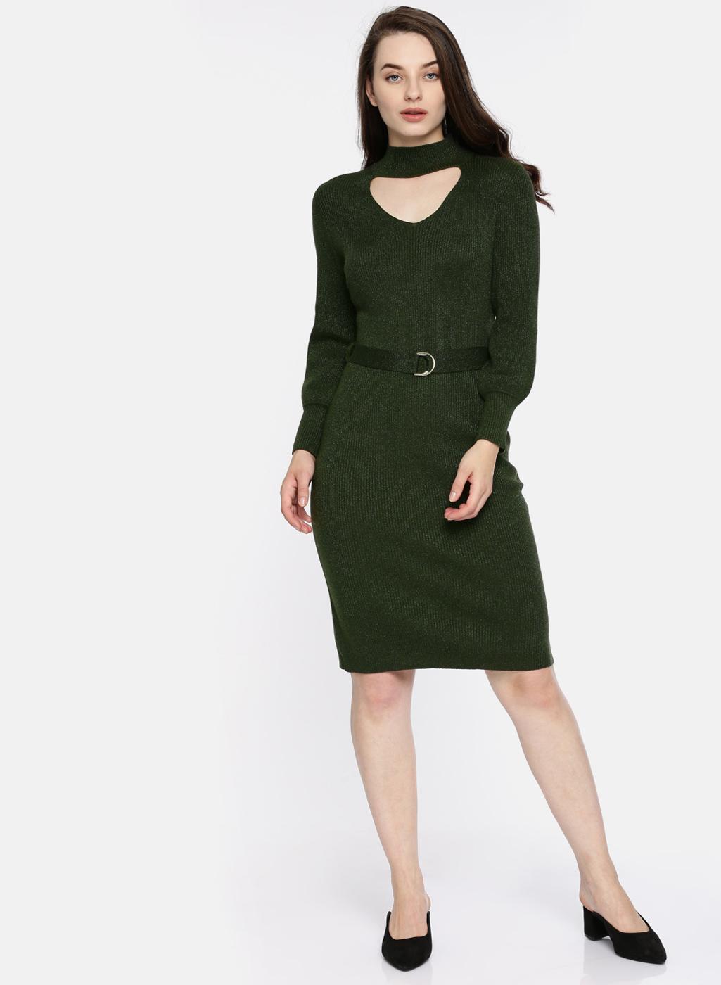 704eaca44e Buy Green Self Design Sweater Dress Online | DTashion.com