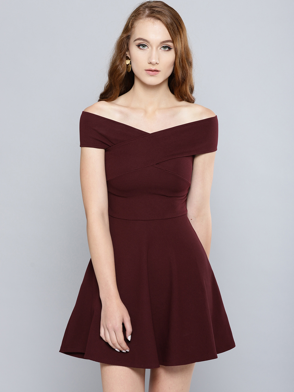 ea8997472357 Buy Veni Vidi Vici Women Maroon Solid Bardot Fit and Flare Dress ...