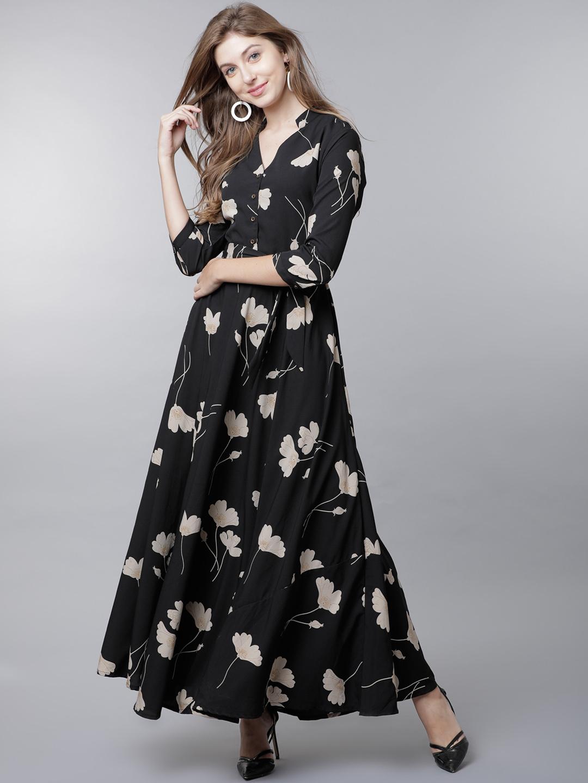 65e064456 Buy Tokyo Talkies Women Black Printed Maxi Dress Online ...