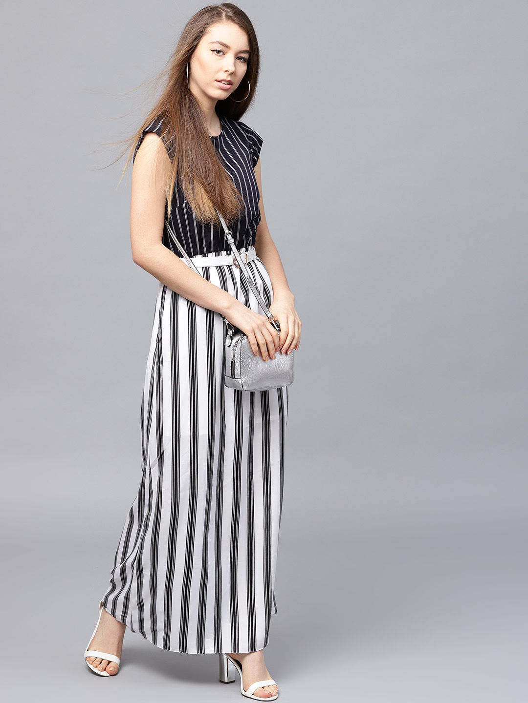 9d72238baa8 Buy Athena Women Black   White Striped Maxi Dress Online ...