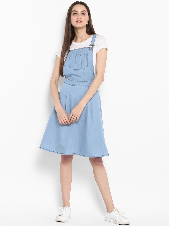 ad69e4f61192 Buy StyleStone Women Blue Solid Pinafore Dress Online   DTashion ...