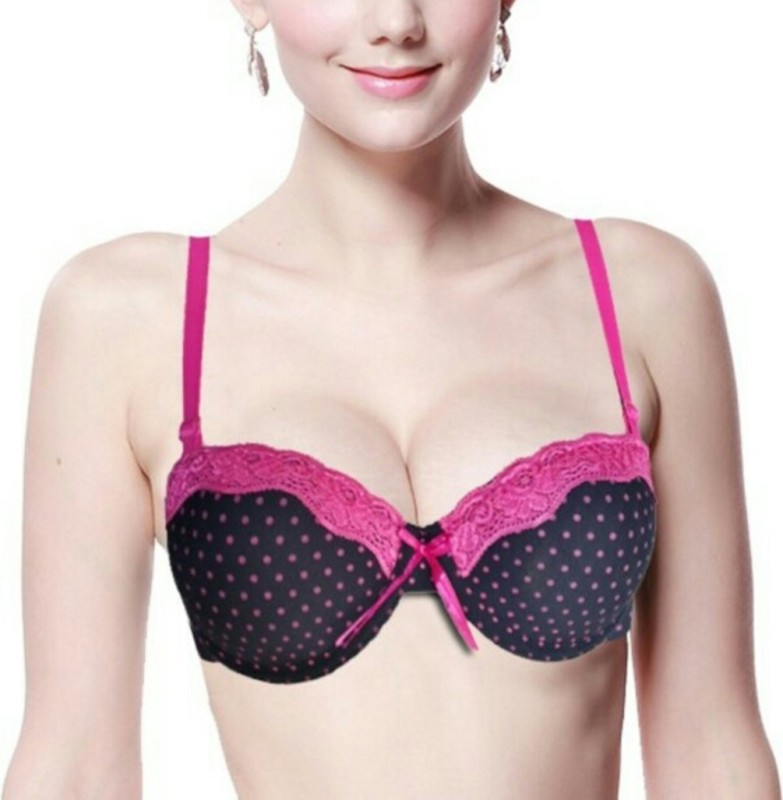19fad8be4292e Florentyne Black with Rose Lace Underwired Women s Push-up Black Bra