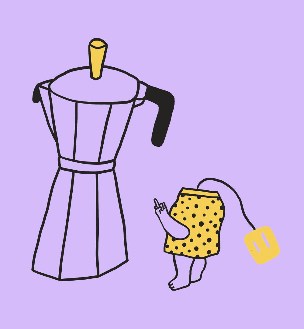 Ein Teebeutel und ein Kaffeekocher