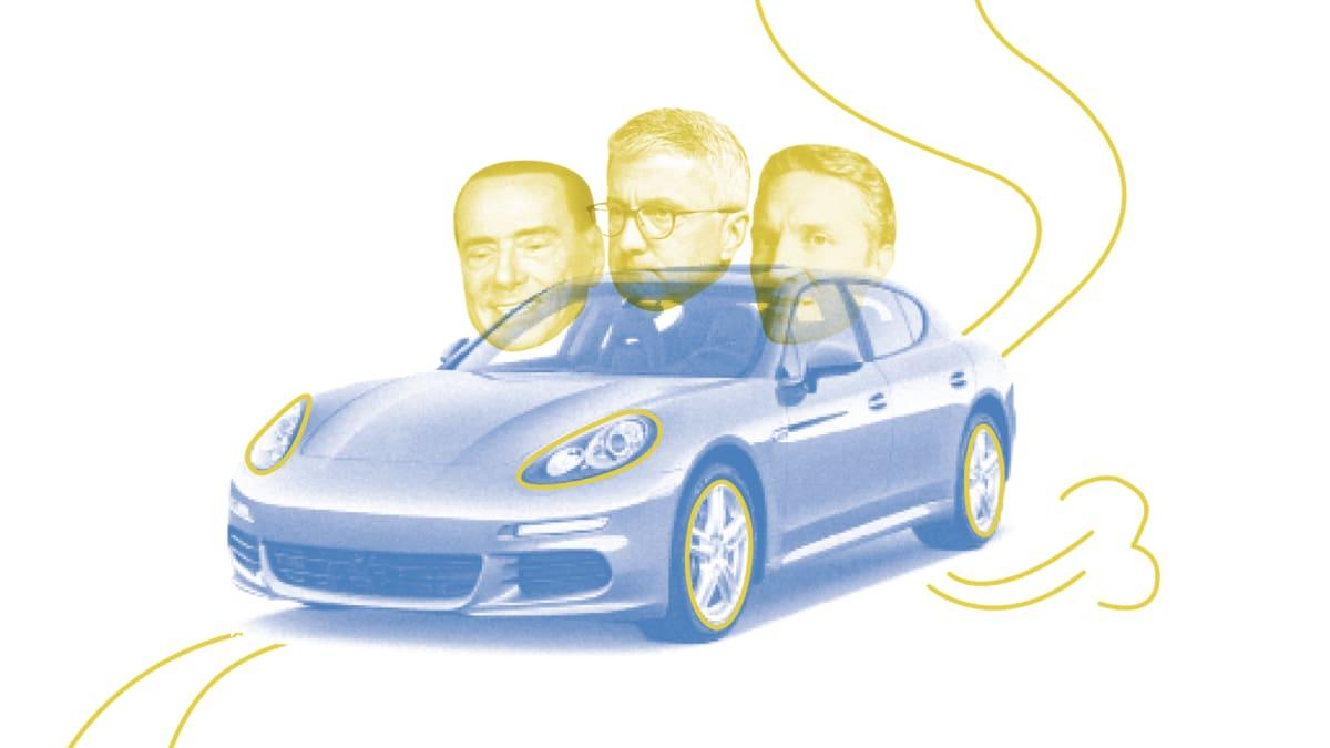 Ein Porsche mit Gesichtern von mächtigen Männern