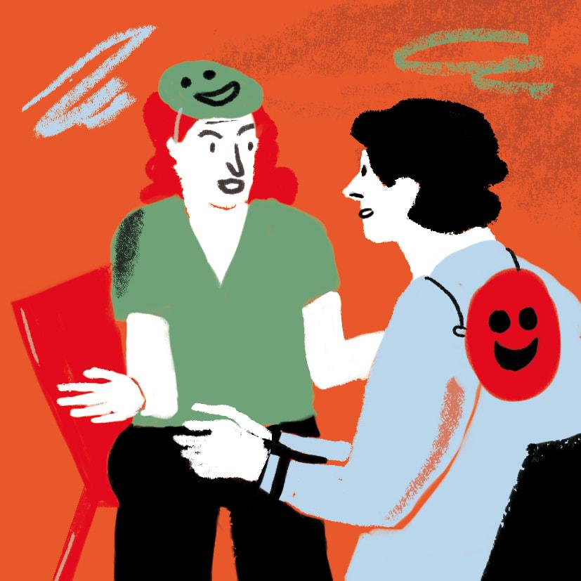 Zwei Menschen ohne Masken, die reden