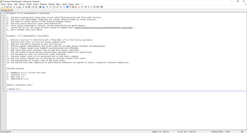 obrazek editoru notepad++