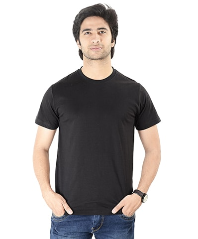 Men's Black Round Neck T-Shirt Half Sleeve