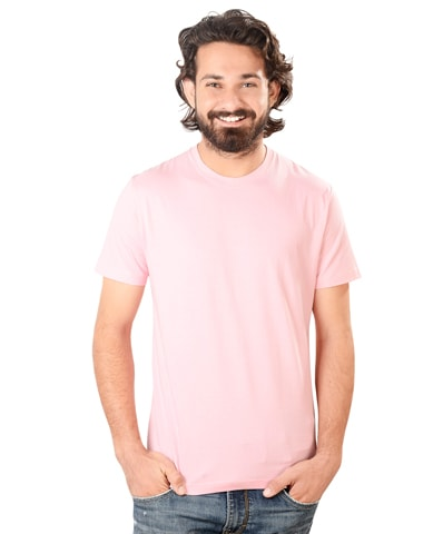 Men's Pink Round Neck T-Shirt Half Sleeve