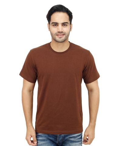 Men's Chocolate Round Neck T-Shirt Half Sleeve