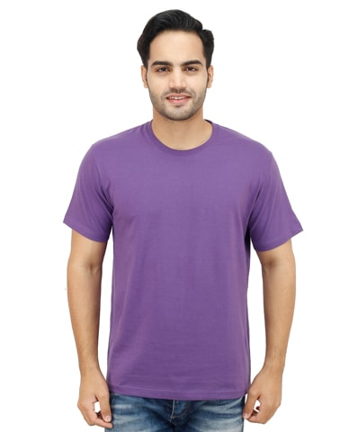 Men's Purple Round Neck T-Shirt Half Sleeve