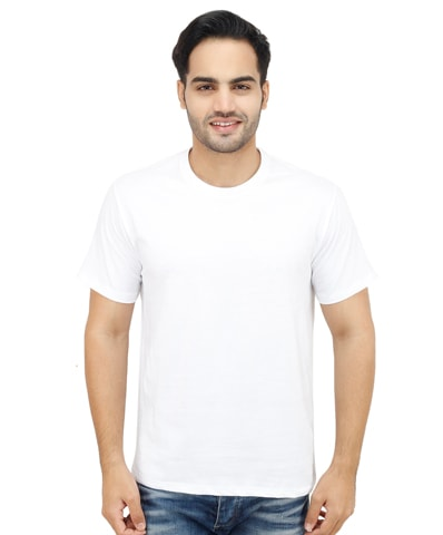 Men's White Round Neck T-Shirt Half Sleeve