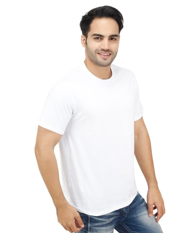 White Round Neck Plain (Blank) T-Shirt for Men in India