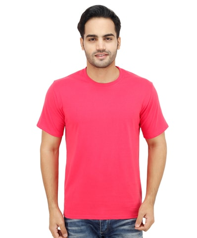 Men's Fuchsia Round Neck T-Shirt Half Sleeve