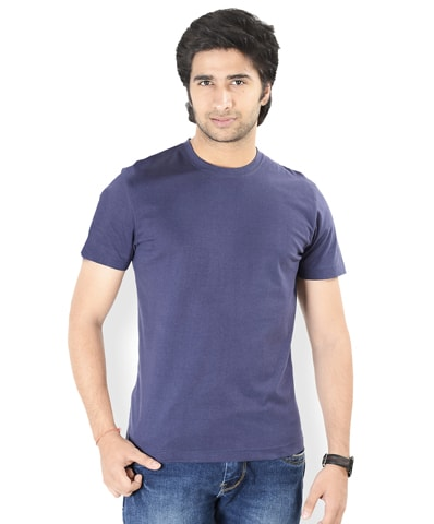 Men's Navy Round Neck T-Shirt Half Sleeve