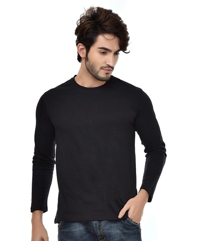 Men's Black Round Neck T-Shirt Full Sleeve