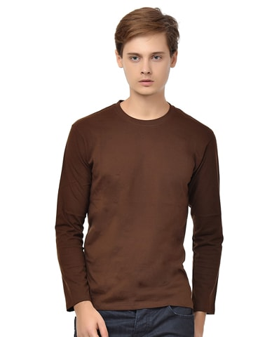 Men's Chocolate Round Neck T-Shirt Full Sleeve