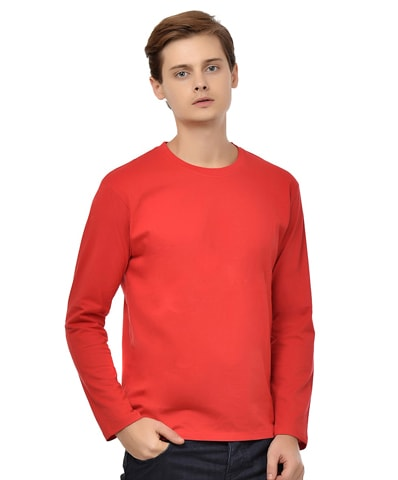 Men's Red Round Neck T-Shirt Full Sleeve