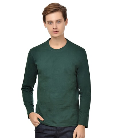 Men's Dark Green Round Neck T-Shirt Full Sleeve